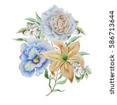 watercolor bouquet with flowers....   Shutterstock . vector #586713644