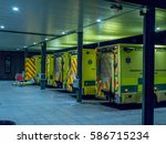 queue of ambulances outside...   Shutterstock . vector #586715234