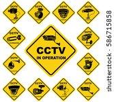 cctv warning yellow sign. video ... | Shutterstock .eps vector #586715858