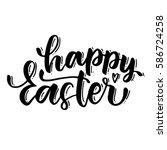 handwriting lettering happy... | Shutterstock .eps vector #586724258