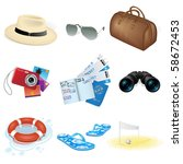 vector vacation and travel icons | Shutterstock .eps vector #58672453