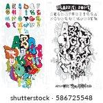 vector alphabet graffiti.... | Shutterstock .eps vector #586725548