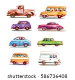 cartoon cars set. watercolor... | Shutterstock . vector #586736408