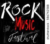 rock music grunge print ... | Shutterstock .eps vector #586742588