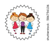 cute kids avatars character | Shutterstock .eps vector #586756136