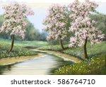 Spring Flower River  Paintings
