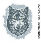 wolf dark on gray cold color... | Shutterstock .eps vector #586766090