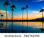 hawaiian sunset over pool | Shutterstock . vector #586766390