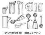 kitchen tool  utensil set... | Shutterstock .eps vector #586767440