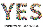 large group of stylized people... | Shutterstock .eps vector #586768358