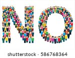 large group of stylized people... | Shutterstock .eps vector #586768364