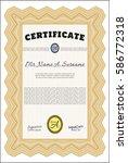 orange classic certificate...   Shutterstock .eps vector #586772318