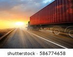 generic big trucks speeding on... | Shutterstock . vector #586774658