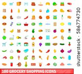 100 grocery shopping icons set... | Shutterstock .eps vector #586774730