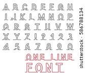 one line font  latin alphabet... | Shutterstock .eps vector #586788134