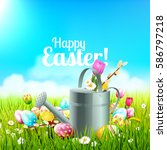 cute easter background with... | Shutterstock .eps vector #586797218