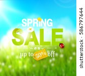 spring sale flyer   sunny... | Shutterstock .eps vector #586797644