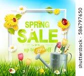 spring sale flyer   sunny... | Shutterstock .eps vector #586797650