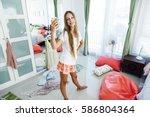 10 years old pre teen girl... | Shutterstock . vector #586804364
