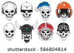 set of 8 skulls. vector... | Shutterstock .eps vector #586804814