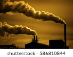 pollution and smoke from...   Shutterstock . vector #586810844