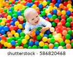 happy laughing boy having fun... | Shutterstock . vector #586820468