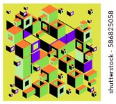vector colorful isometric cubes ... | Shutterstock .eps vector #586825058