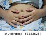 stomach ache child  child sick  ... | Shutterstock . vector #586836254