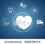 heartbeat service medical icons ... | Shutterstock .eps vector #586838414