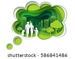 paper carve to family and park... | Shutterstock .eps vector #586841486