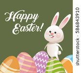 happy easter card rabbit with... | Shutterstock .eps vector #586843910