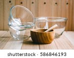 Glass Bowl And Wooden Bowl ...