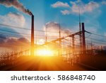 thermal power stations and... | Shutterstock . vector #586848740