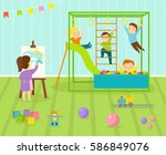 kids playroom with light... | Shutterstock .eps vector #586849076