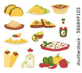 mexican traditional food with... | Shutterstock .eps vector #586849103