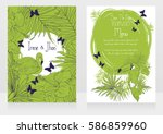 wedding cards with tropical... | Shutterstock .eps vector #586859960