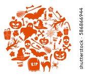 set of halloween icons in... | Shutterstock . vector #586866944