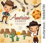 american cowboy traditional... | Shutterstock .eps vector #586868780