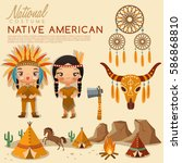 native american traditional... | Shutterstock .eps vector #586868810