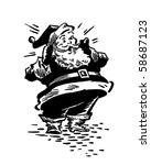 Surprised Santa   Retro Clip Art