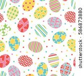 easter eggs. seamless vector... | Shutterstock .eps vector #586873880