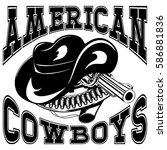vector illustration cowboy hat... | Shutterstock .eps vector #586881836