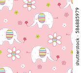 Stock vector seamless pattern with cute elephants and flowers wrapping paper vector illustration 586885979