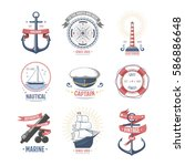 fashion nautical and marine... | Shutterstock .eps vector #586886648