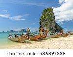 phra nang cave beach in krabi ... | Shutterstock . vector #586899338