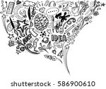 creative art doodles hand drawn ... | Shutterstock .eps vector #586900610