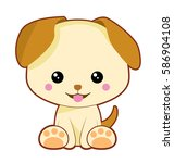 cute little light brown dog... | Shutterstock .eps vector #586904108