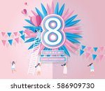 happy women's day celebration... | Shutterstock .eps vector #586909730