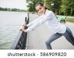 fitness and motivation. healthy ... | Shutterstock . vector #586909820