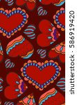 cute seamless pattern. doodle... | Shutterstock .eps vector #586919420